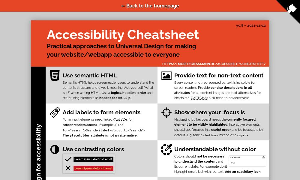 Screenshot of Accessibility Cheatsheet