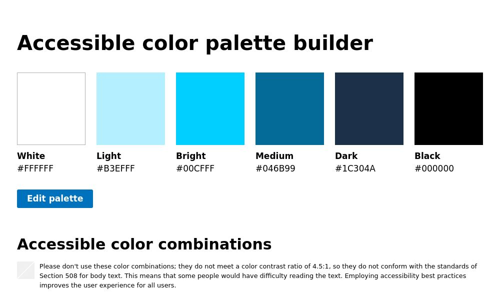 Screenshot of Accessible color palette builder