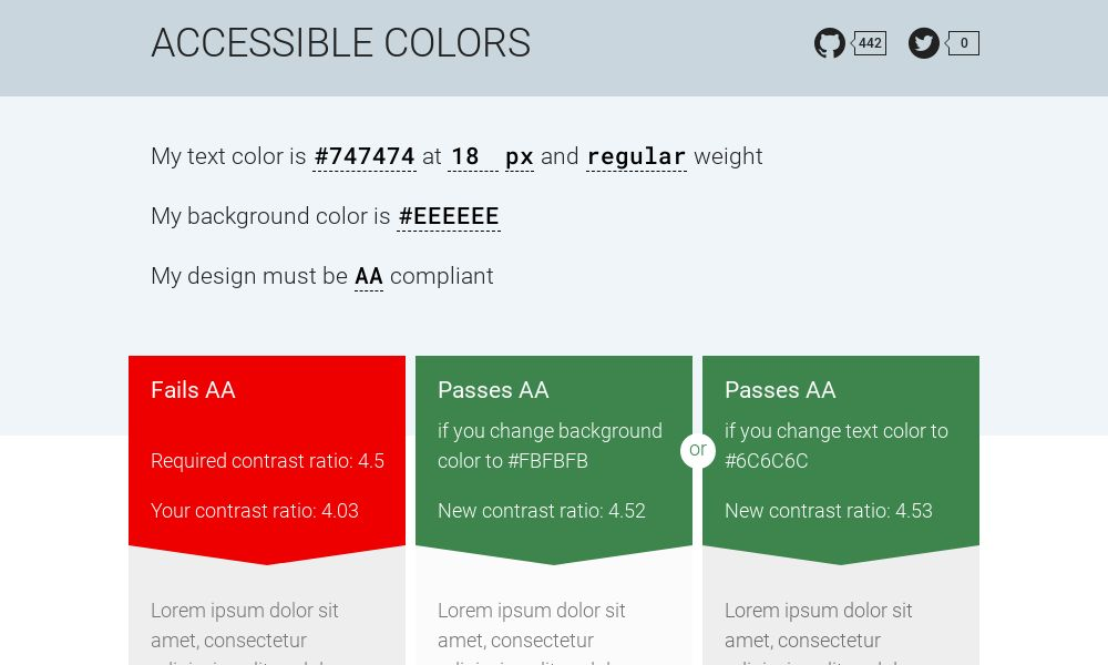 Screenshot of Accessible colors