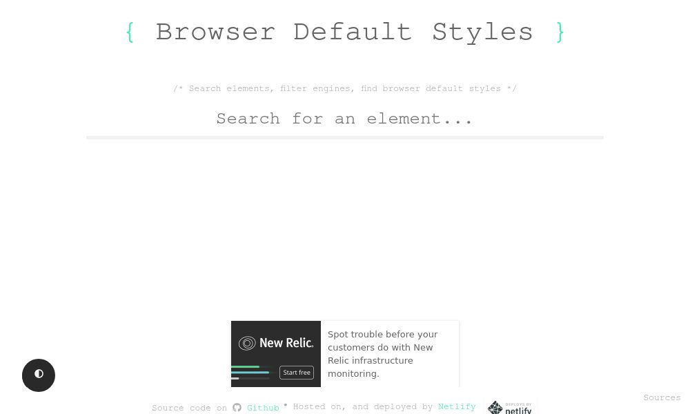 Screenshot of Browser Default Styles