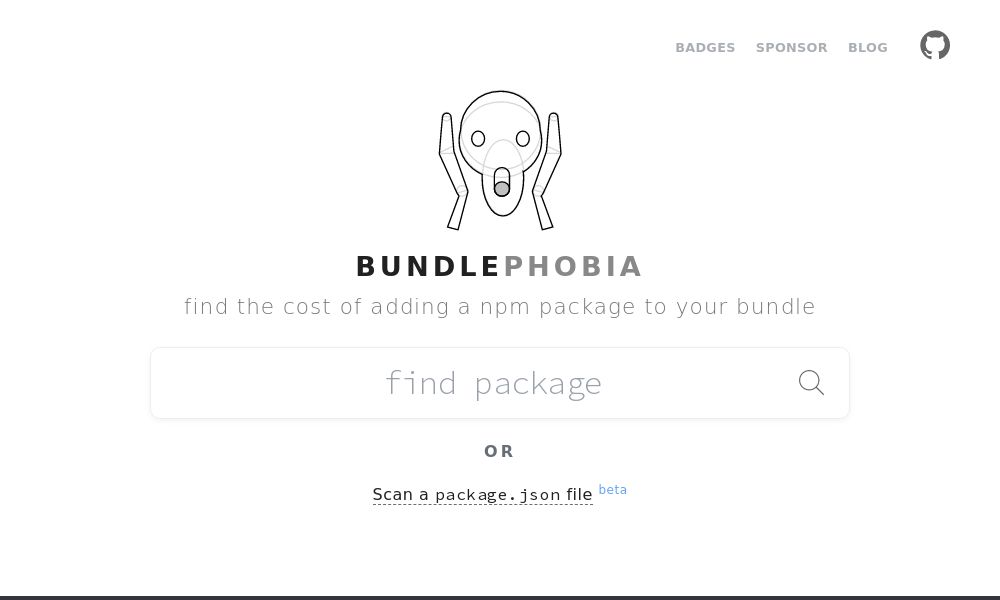 Screenshot of Bundlephobia