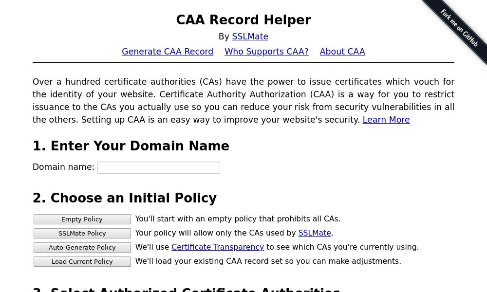 Screenshot of CAA Record Helper