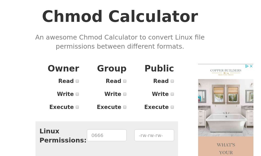 Screenshot of Chmod Calculator