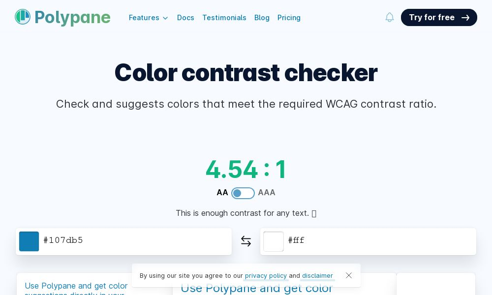 Screenshot of Color contrast checker