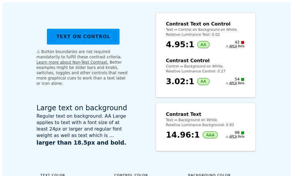 Screenshot of Contrast Checker