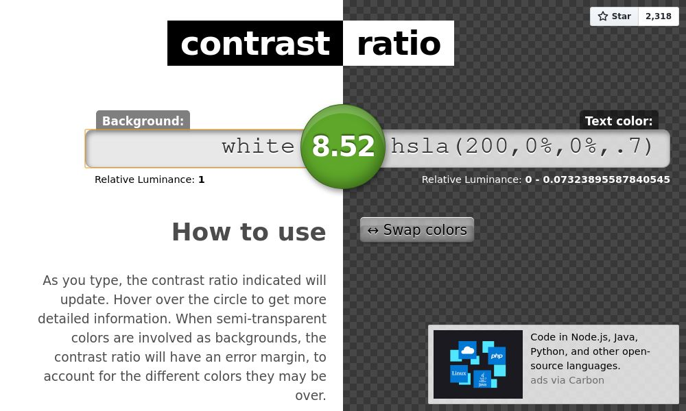 Screenshot of Contrast ratio