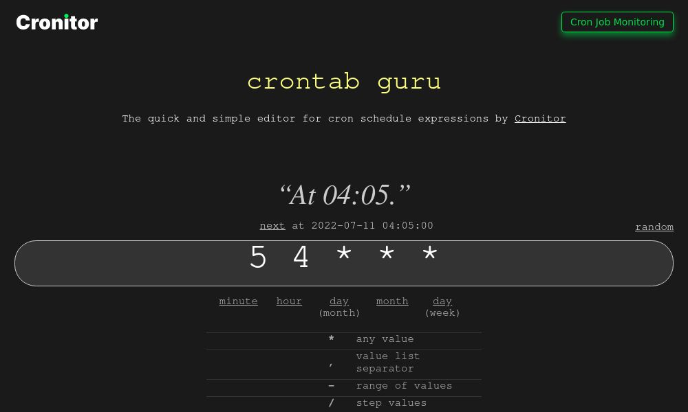 Screenshot of crontab.guru