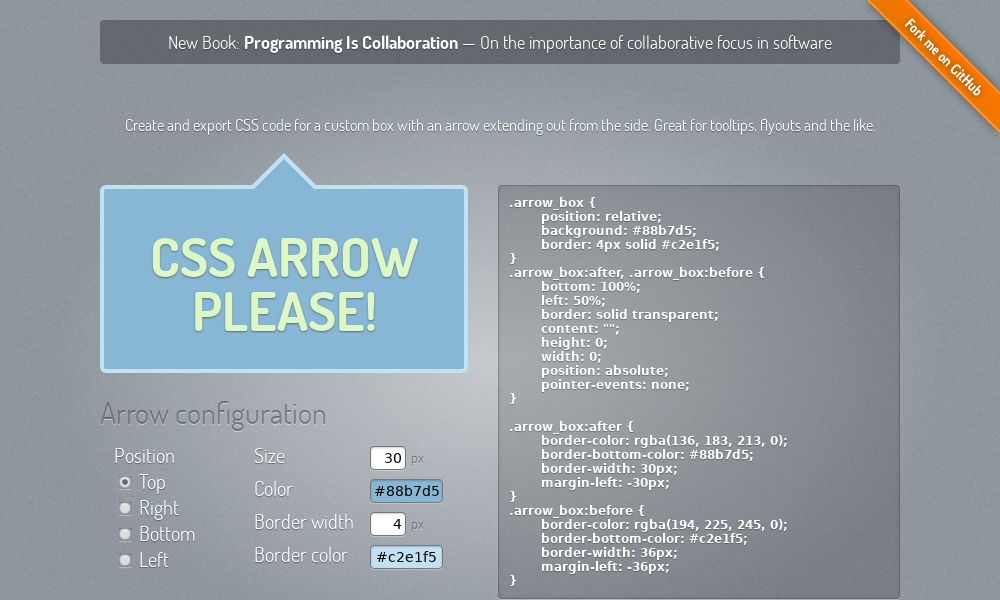Screenshot of CSS Arrow Please