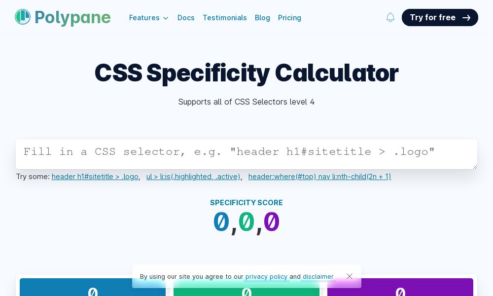 Screenshot of CSS specificity calculator