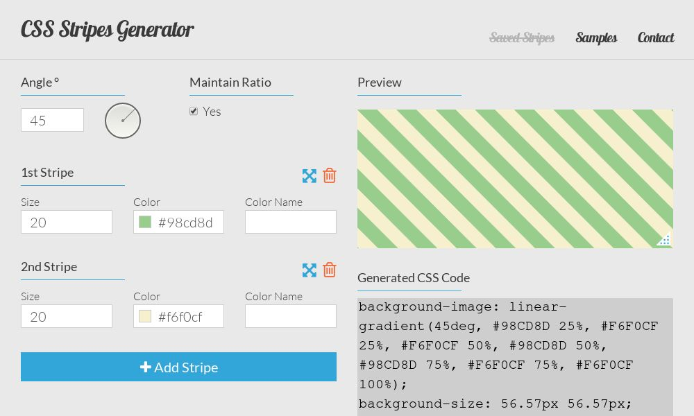 Screenshot of CSS Stripes Generator