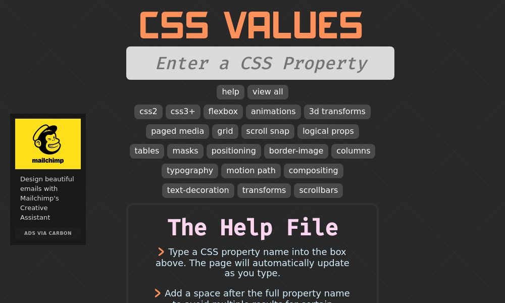 Screenshot of CSS values