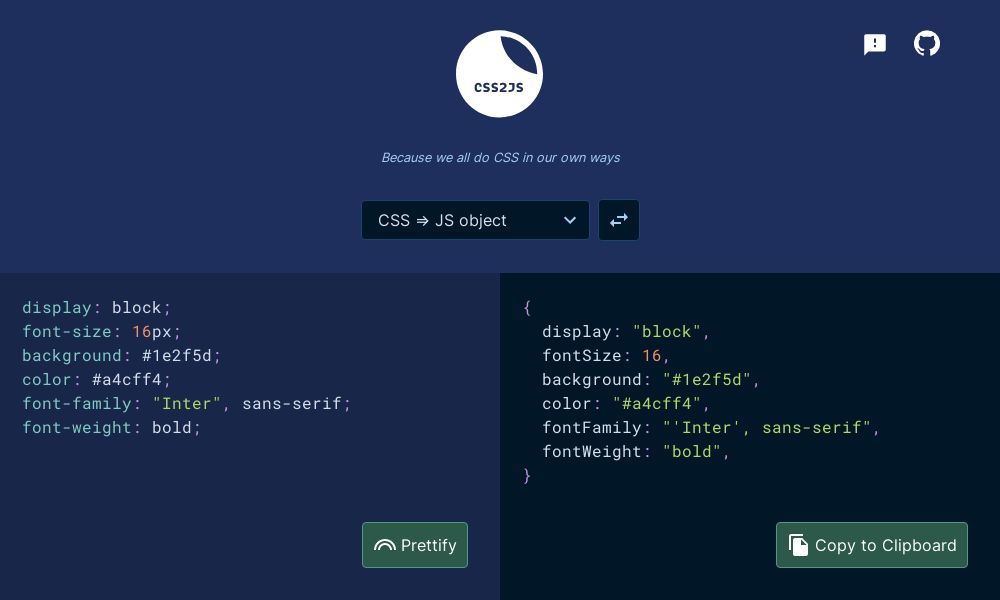 Screenshot of CSS2JS