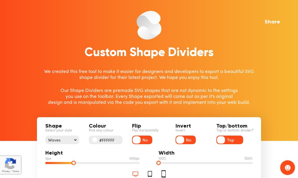 Screenshot of Custom Shape Dividers