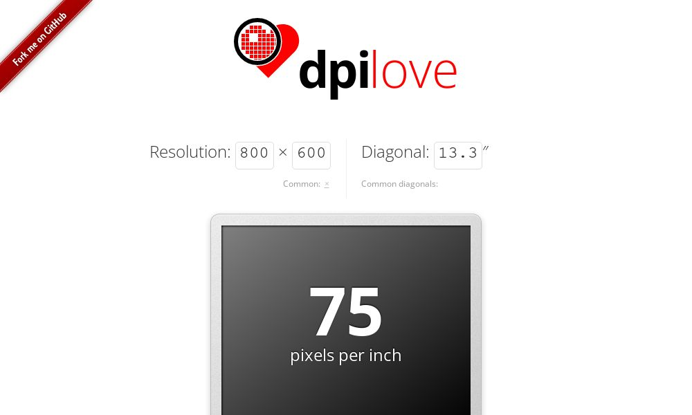 Screenshot of dpilove