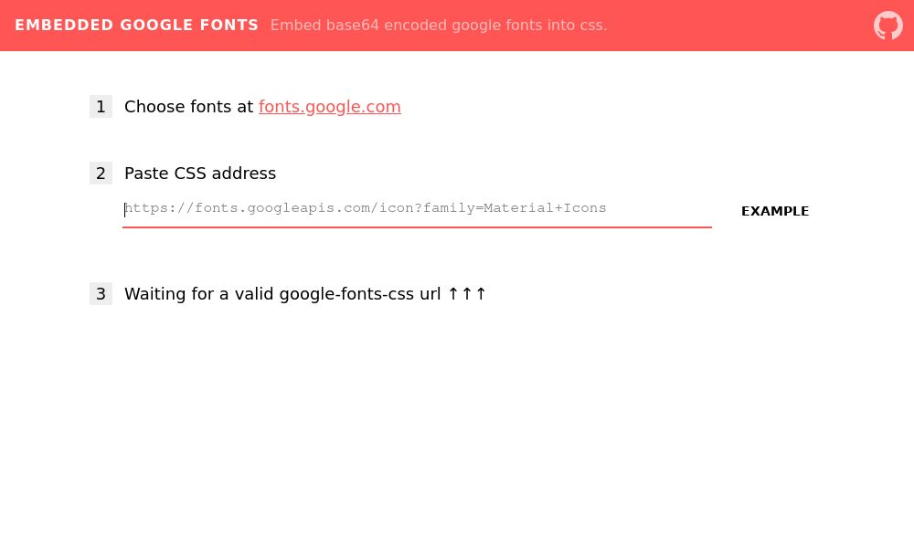 Screenshot of Embedded Google Fonts