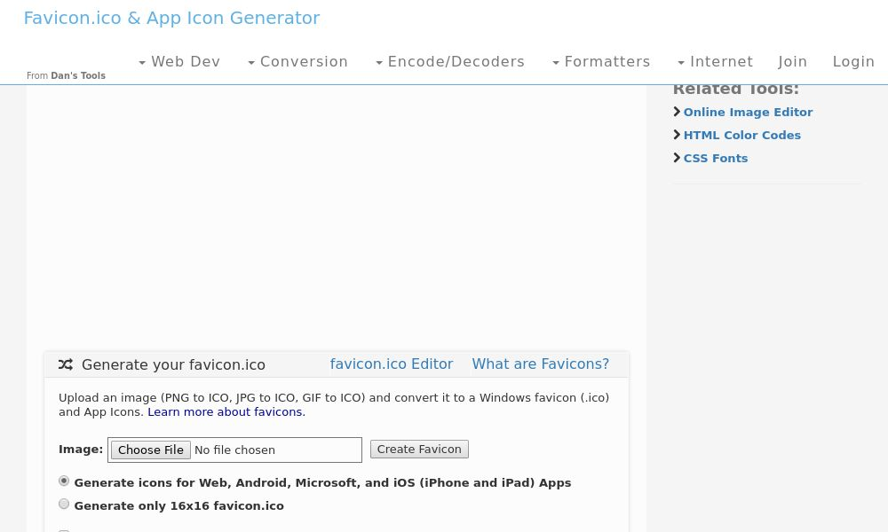 Screenshot of Favicon & App Icon Generator