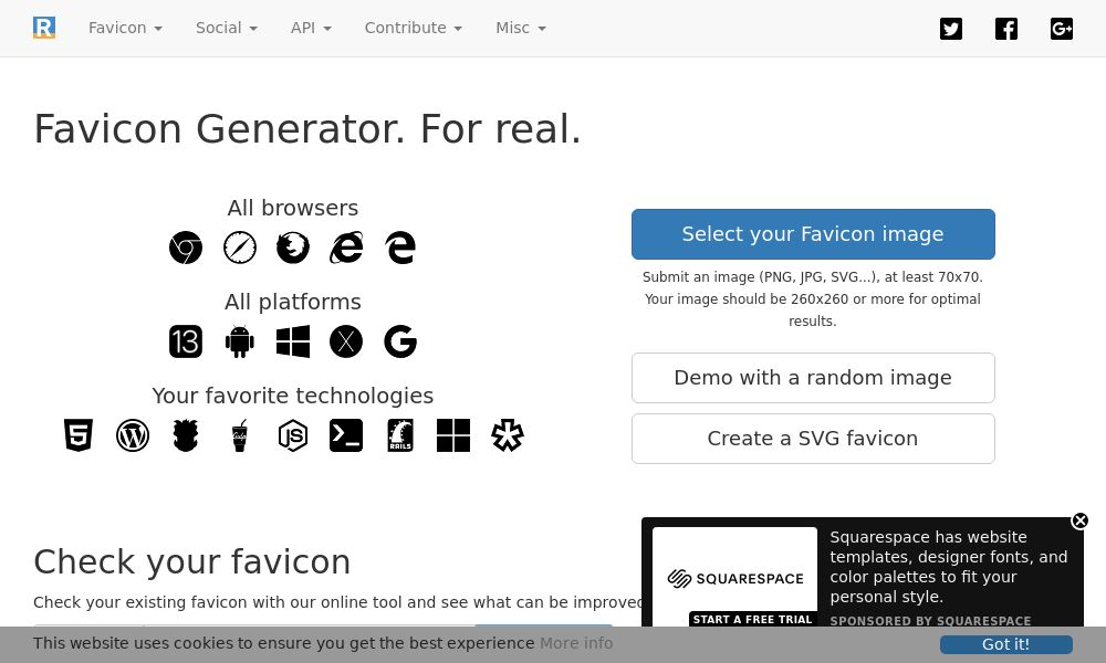 Screenshot of Favicon Generator. For real.