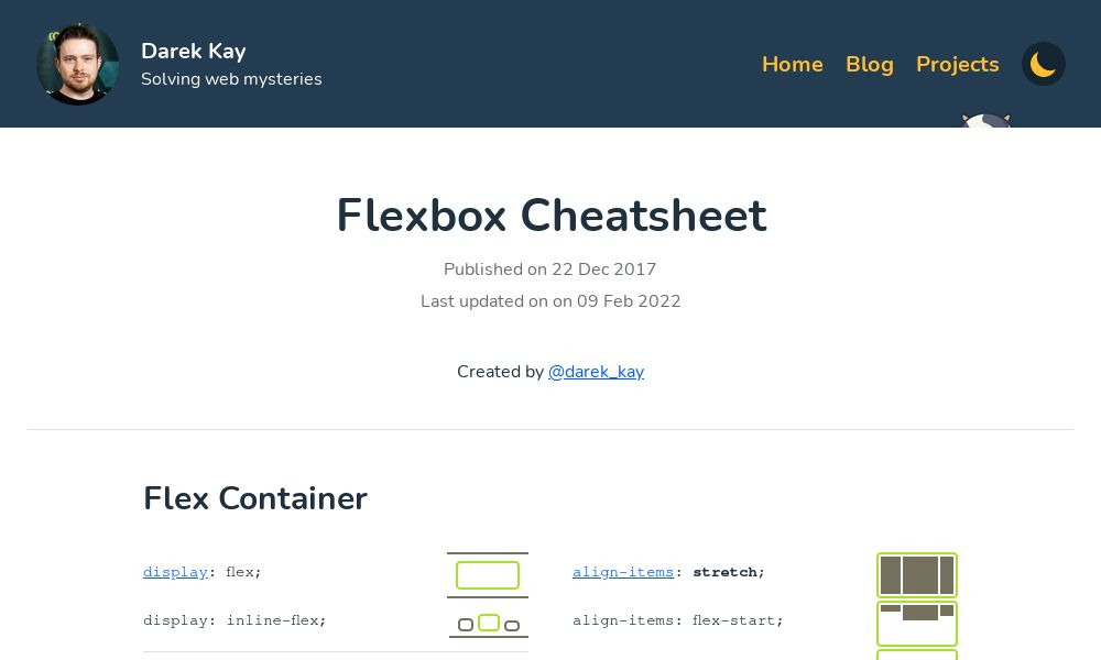 Screenshot of Flexbox Cheatsheet