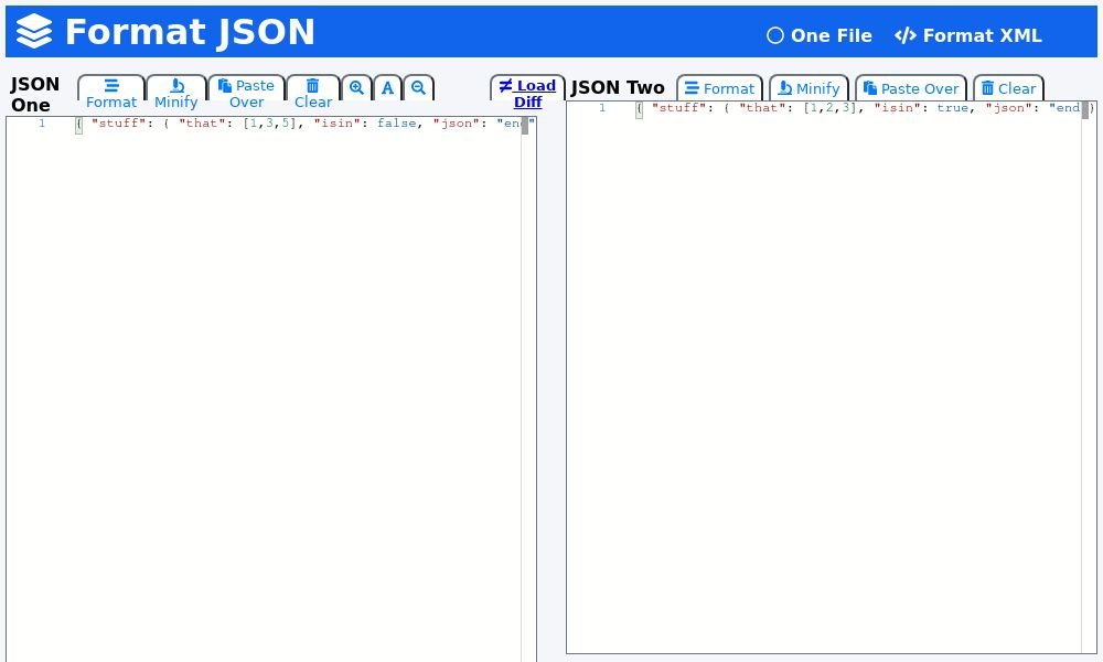 Screenshot of Format JSON