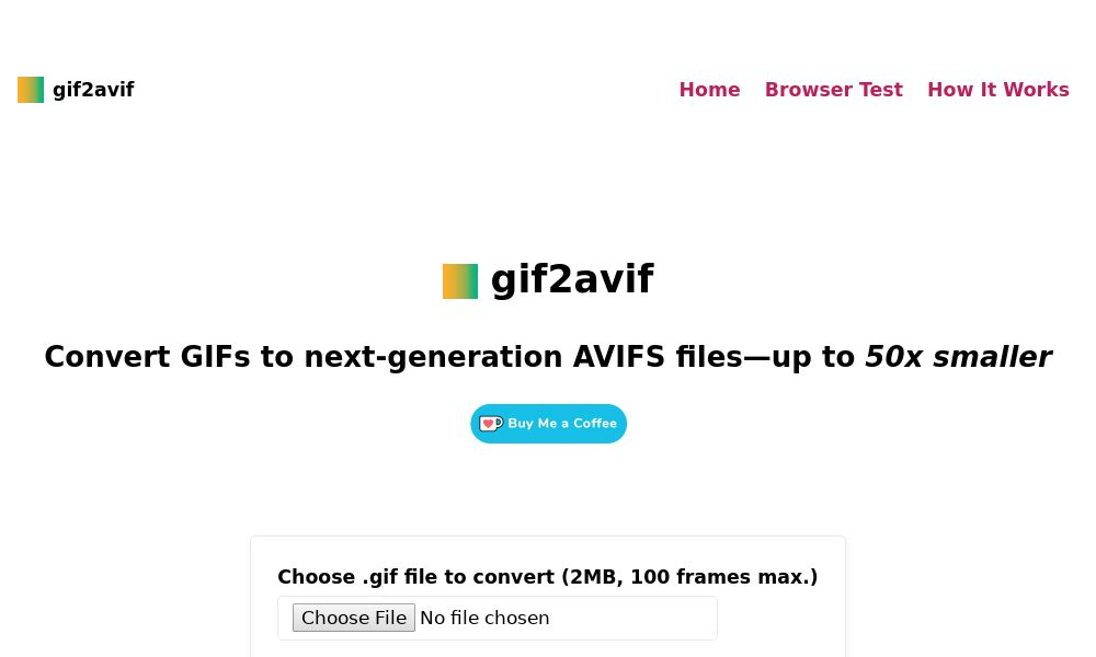 Screenshot of gif2avif