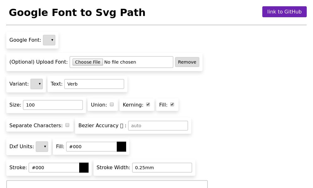 Screenshot of Google font to SVG path