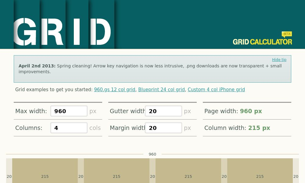 Screenshot of Grid Calculator