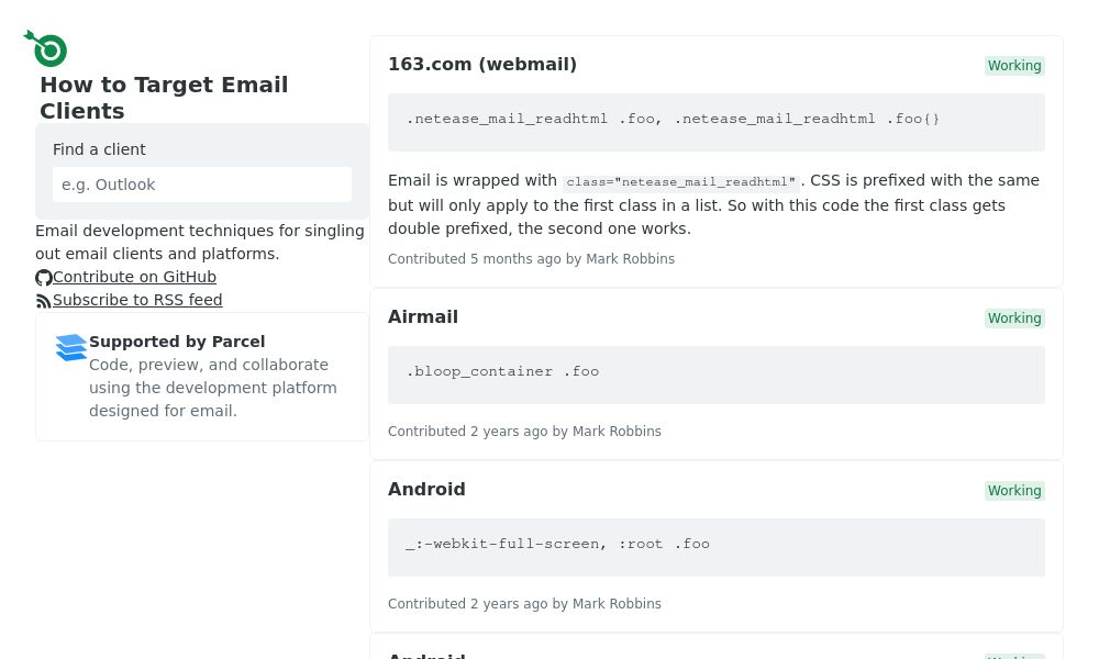 Screenshot of How to Target Email Clients