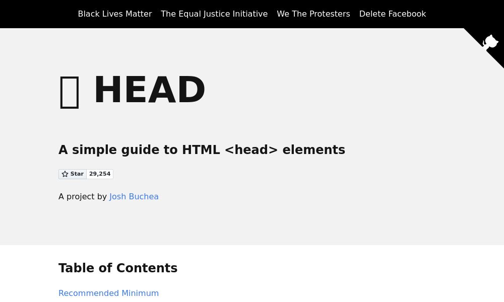 Screenshot of HTML5 <head> elements