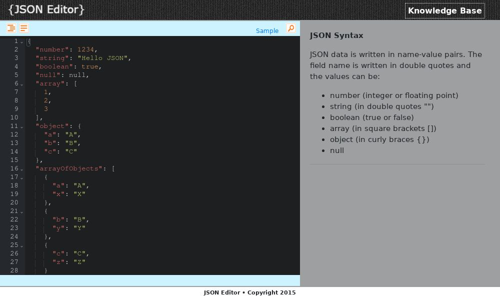 Screenshot of JSON Editor