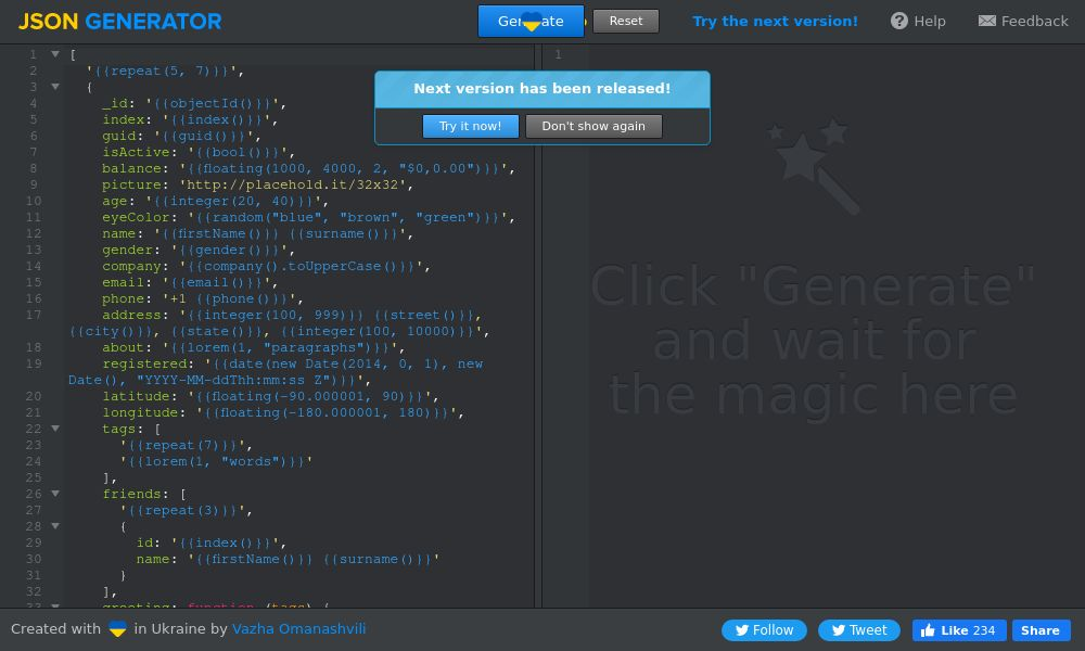 Screenshot of JSON Generator