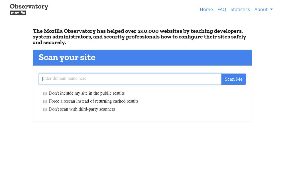 Screenshot of Mozilla Observatory
