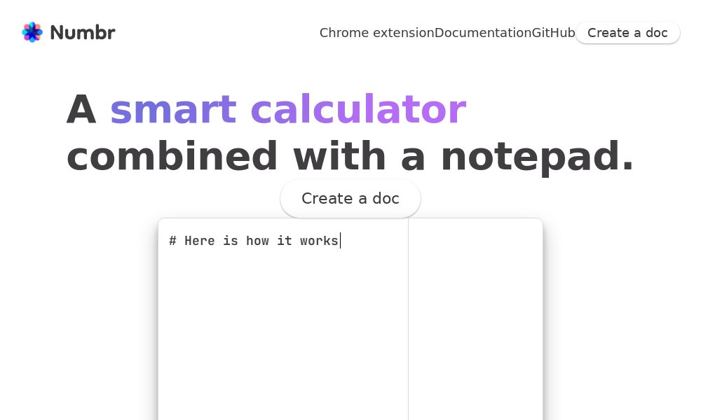 Screenshot of Numbr
