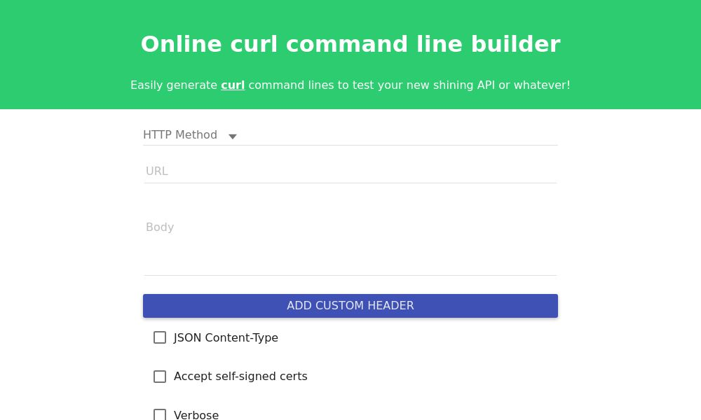Screenshot of Online Curl Command Line Builder