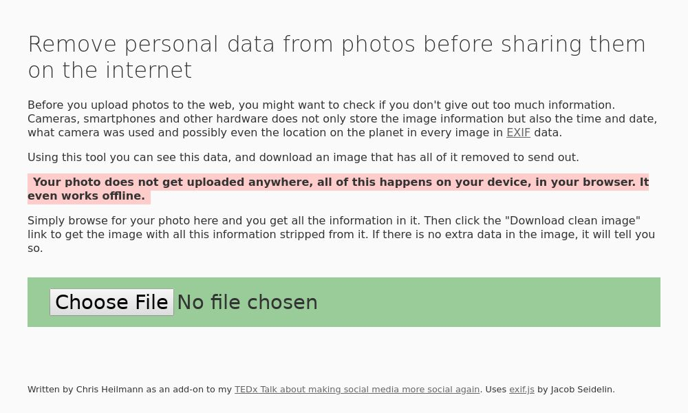 Screenshot of Remove Photo Data