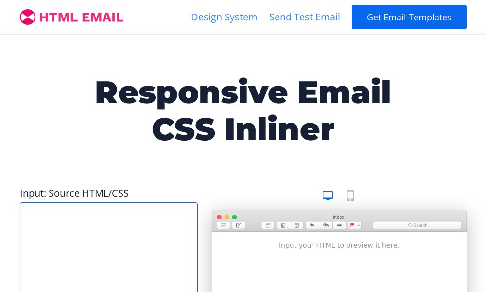 Screenshot of Responsive Email CSS Inliner