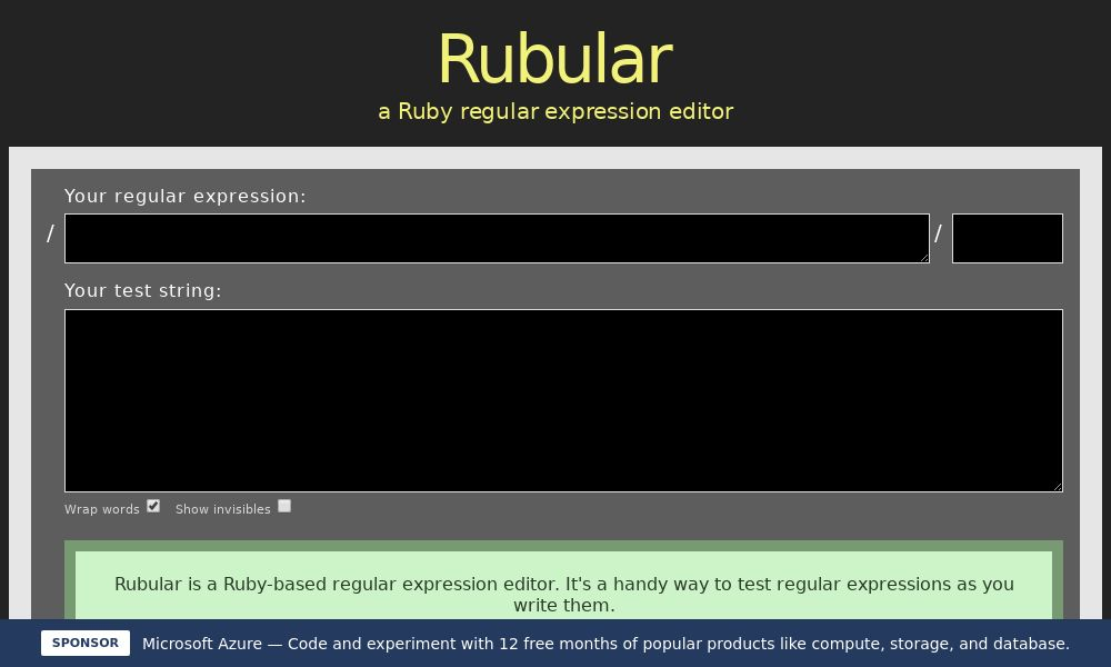 Screenshot of Rubular