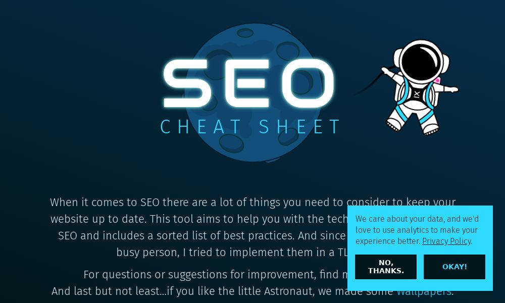 Screenshot of SEO Cheat Sheet