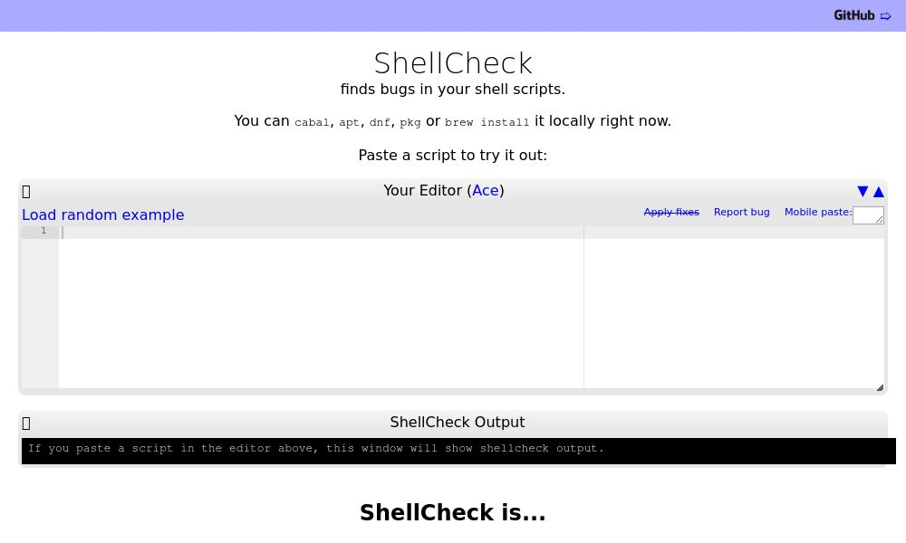 Screenshot of ShellCheck