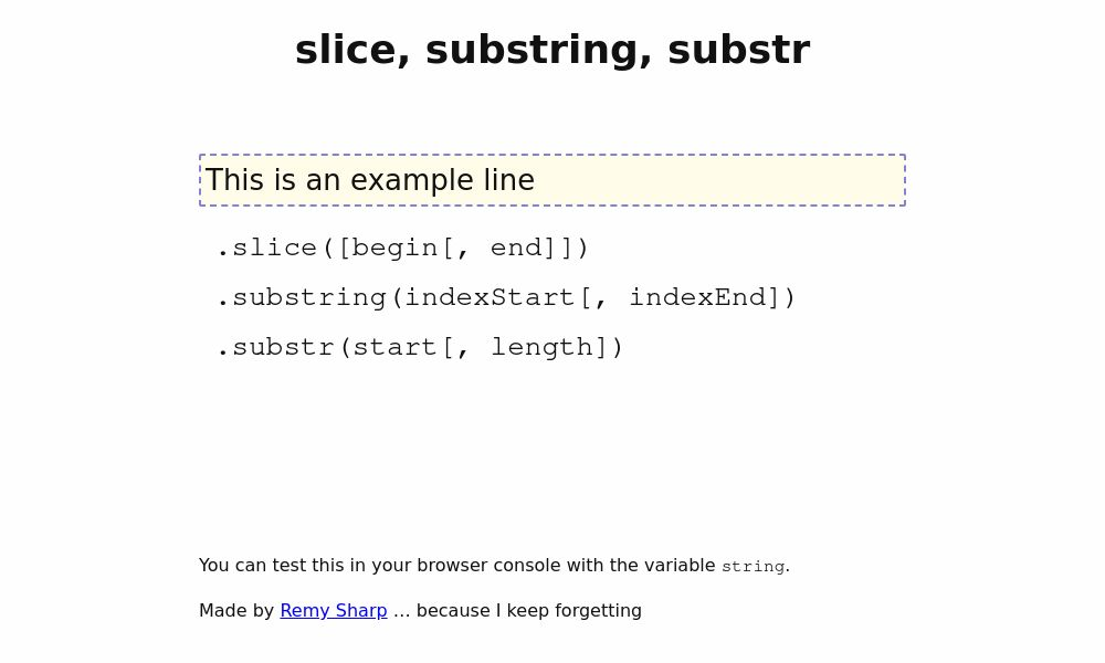 Screenshot of slice/substring/substr comparison
