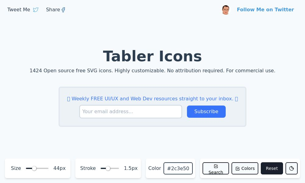 Screenshot of Tabler Icons
