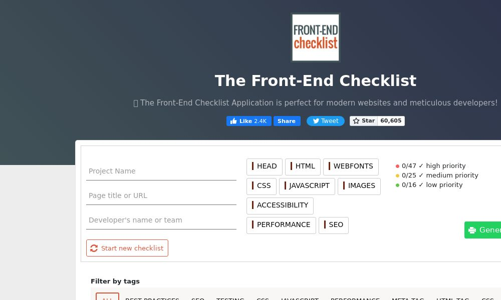 Screenshot of The Front-End Checklist