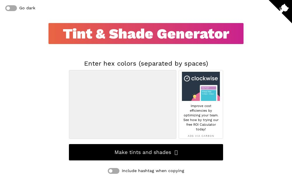 Screenshot of Tint & Shade Generator