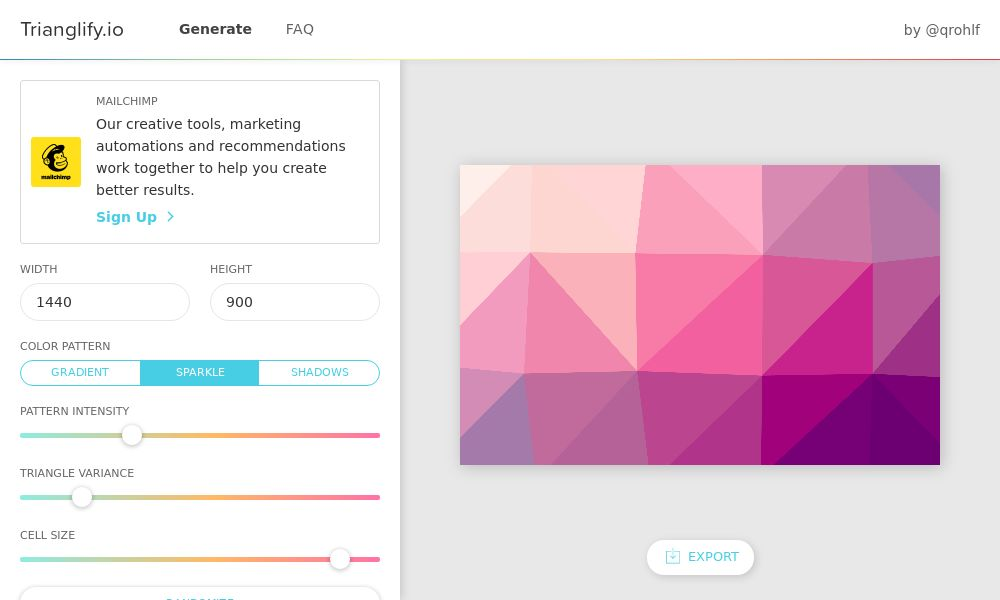 Screenshot of Trianglify.io