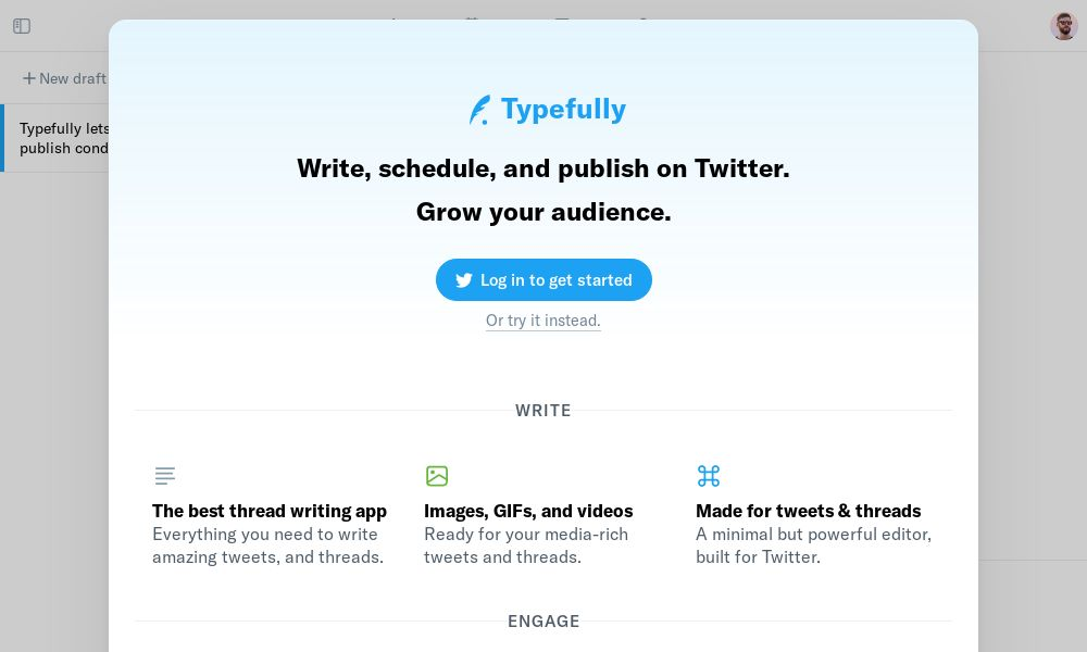 Screenshot of Typefully