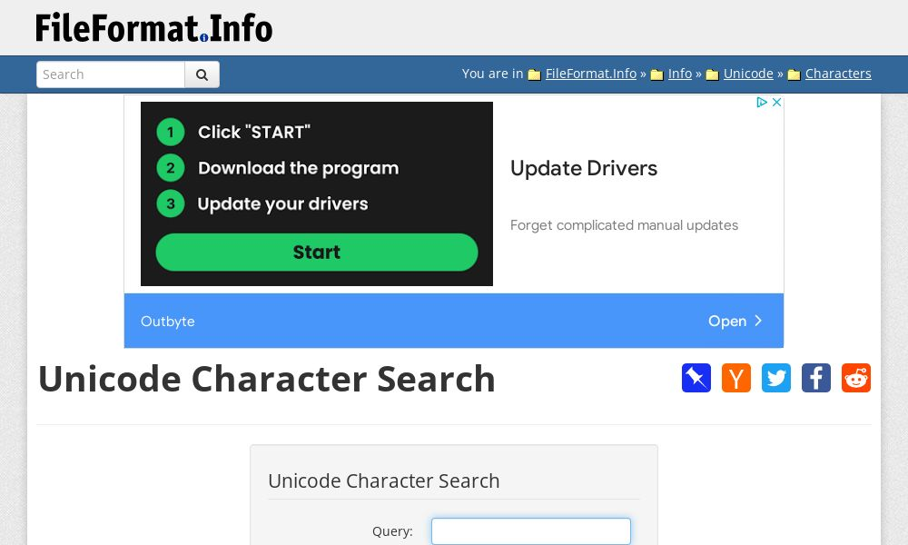 Screenshot of Unicode Character Search