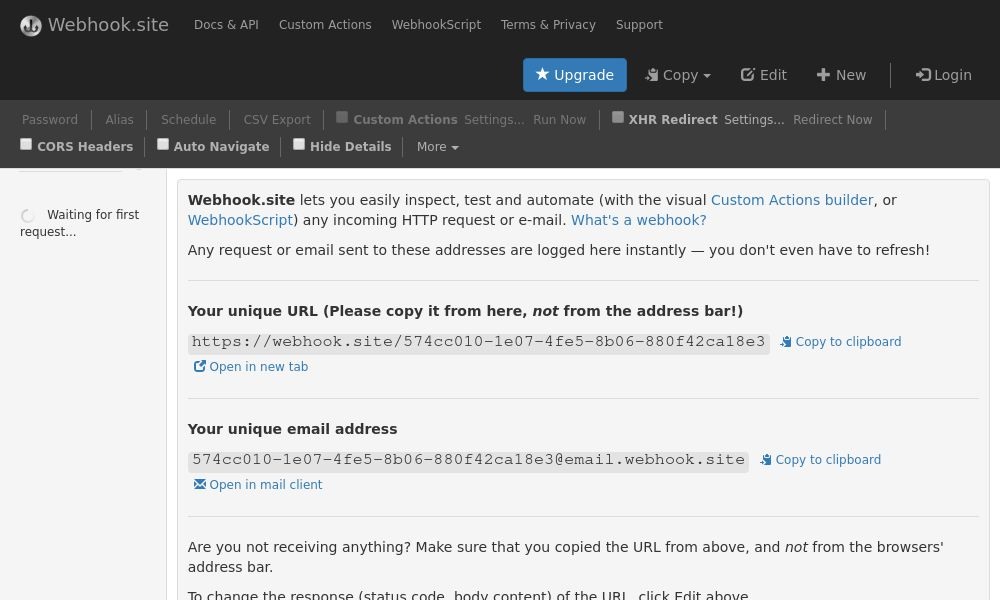 Screenshot of Webhook.site