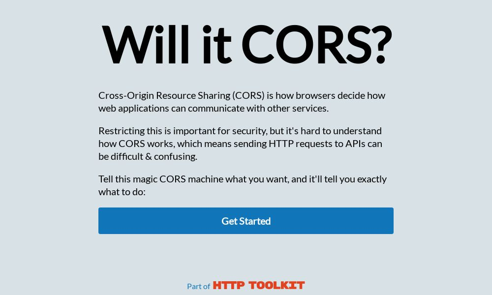 Screenshot of Will it CORS?
